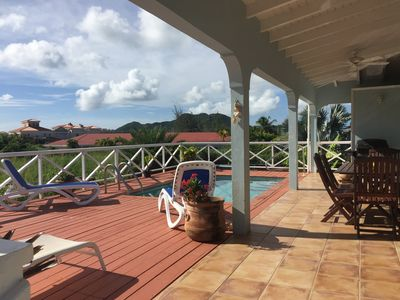 Villa Azure Decking with private pool. Facing towards Jolly Harbour.