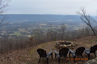 Fire pit in back yard over-looking the Sequatchie Valley.