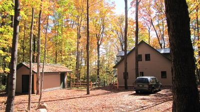 North side of cabin and parking area.