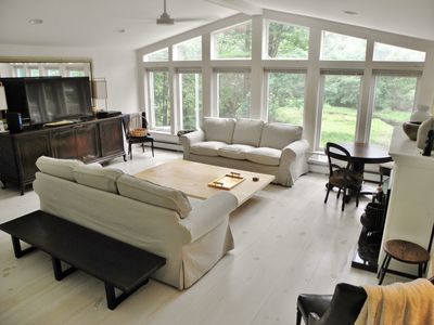 Photo for Serene, luxurious lakefront house  just steps from Main St in hip Narrowsburg