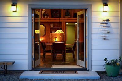 French doors connect the inside of the home with the outside environment.