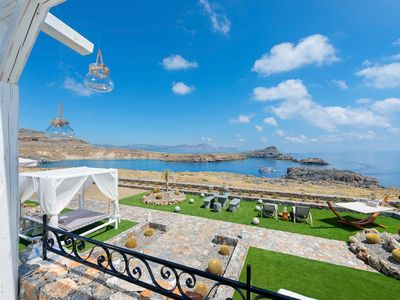 Photo for <div>A stunning 2-bedroom villa overlooking the ocean and Lindos Bay, Villa Corteau enviable positio