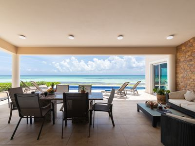 Photo for 4 BDRM Beachfront villa with private pool / BBQ for 10-Playacar Phase 1