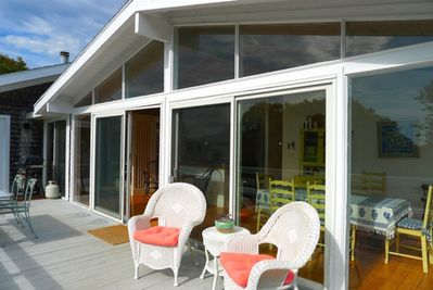 Warm yourself on the deck overlooking the pool.