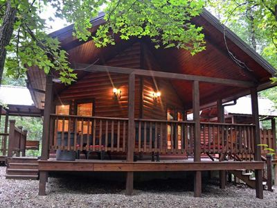 Photo for Sweet Escape-Luxury Honeymoon Cabin. Hot tub, King Bed, WIFI & private Hot tub