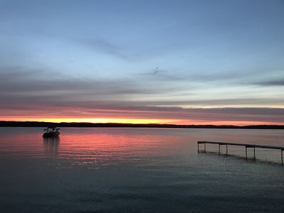 Photo for Rustic Cabin On Lake Leelanau. Sunset Views With Private Beach. 10 Miles from TC