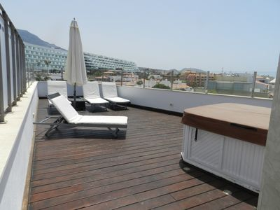 Private Penthouse Deck with Jacuzzi, sunloungers and shower. All just for you!