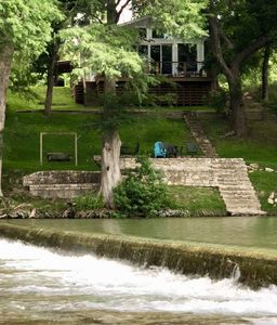 Waterfall on the Guadalupe with our patio, deck, and house.