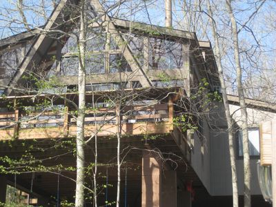 Photo for Charming Chalet overlooking a beautiful lake and surrounded by wooded forest