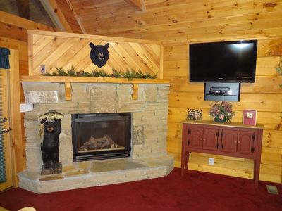 Gas fireplace and HD TV and Blue-Ray Player