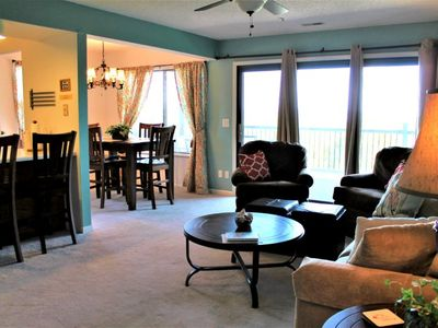 Photo for Stunning 2 bed 2 bath Condo- Great Lake Location-No steps-End unit, wooded walking path to lake.