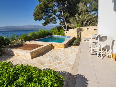 Photo for Beachfront twin villa with private pools and amazing sea views - Villa Rosemary