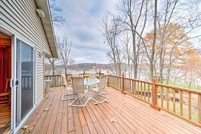 This home features a viewing deck, fire pit, and access to a private dock.