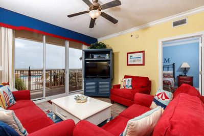 There's lots of room for family movie nights after great days on the beach!