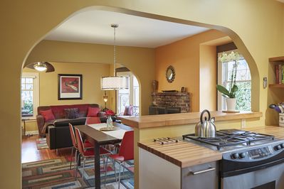 New kitchen remodel fills rooms with light.