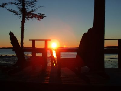 Sunset from top of stairs in the backyard. Beautiful waterfront views