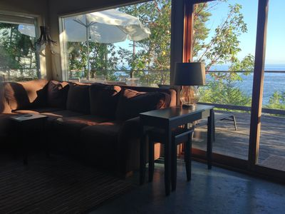 The Living Room  overlooking the deck and ocean.