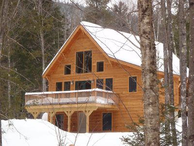 Photo for Elegant custom chalet in private wooded location close to skiing, golf, village