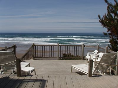 Photo for Beachfront Home with Fire pit & beach stairs to the sand.