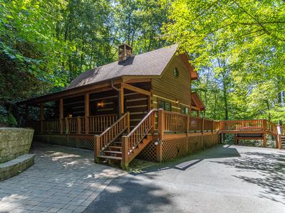 Photo for Hummingbird Hollow ~Cozy log cabin on 2 acres with hot tub & air hockey table!