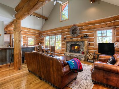 Photo for Charming, slope-side log home with White Otter Lift ski access and private hot tub