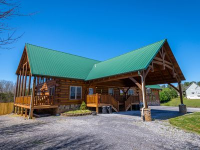 Photo for LARGE GROUPS/WEDDING/SLEEPS 22/FIRE PIT/HOT TUB/KING SUITES/LUXURY CABIN