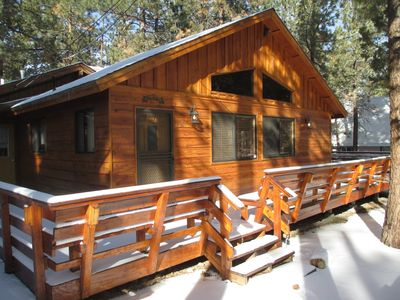 Photo for Cozy 2 Br 2 Ba, All Wood Cabin In/out w/ Fire Place + Hot Tub