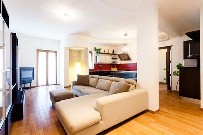 Living room, couch, fully equipped kitchen, balcony,