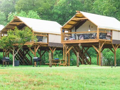 Photo for Gorgeous & Fun Glamping! Insulated w/ AC Cabin on Creek! Kayak & PaddleBoard!