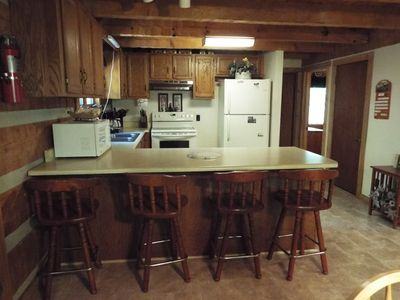 Looking at kitchen from dining area