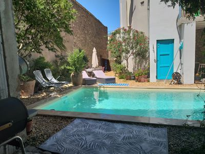 Photo for Holiday home with pool in a charming village. 34480, Magalas, Herault, France.