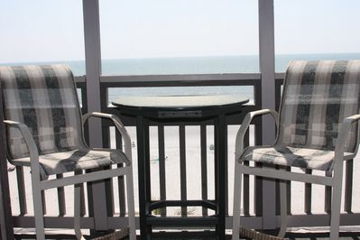 Large Oceanfront Balcony With Bar Height Table & Chairs & 2 Additional Rockers