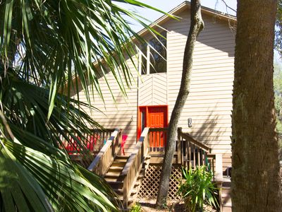 Photo for Less than 60 second stroll to beach! Private heated pool,  close to shops