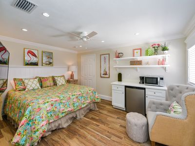 Photo for Tropical Breeze Resort - Studio Room w/ Kitchenette - Located in Siesta Key Village - Short Walk to Beach. INCLUDED: Daily Housekeeping, Bikes, 2 Pools/1 Spa, Beach Chairs, Beach Towels, WiFi, Parking , Games, BBQs and More!