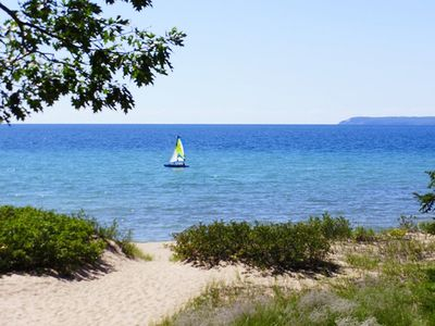 Photo for Lake Michigan Sleeping Bear Bay  Beachfront 2b/2b Condo in Glen Arbor!