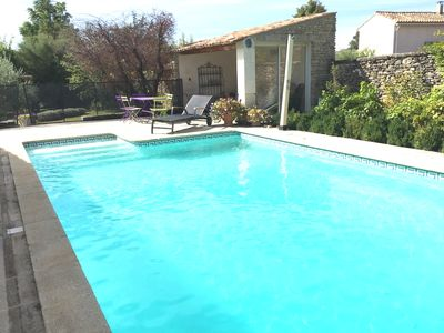 Photo for GORDES - Stone house with calm, with SWIMMING POOL, garden and ...