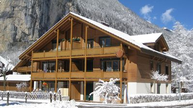Photo for Beautiful top floor apartment in the small town of Lauterbrunnen