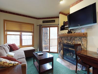 Photo for NEW LISTING! Walk to the slopes, amazing ski area views, shared hot tubs too!