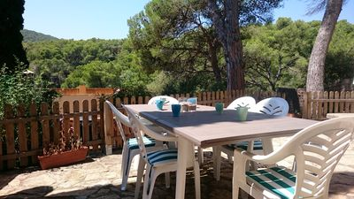 Photo for Villa Antònia - Relax with your family or friends in a cove 300m from the beach