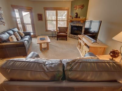Photo for Convenient located in the Mountain House Base Area, this 2 bedroom condo is within a walking distance to the slopes, sleeping capacity for 7, everyone will enjoy the views and amenities this building has to offer for its guests!