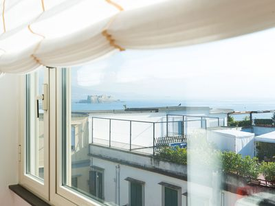 Photo for Very bright house, renovated, equipped with a view of the Gulf of Naples