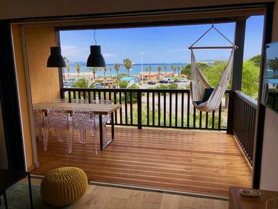 Photo for Air-conditioned apartment renovated 36m2 + 12m2 terrace - SEA VIEW Saint-Tropez