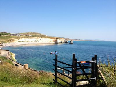 Freshwater Bay from the Downs. An easy 5 minute walk from the apartment.