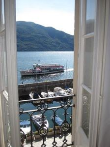 The view of Lago Maggiore and the old harbour from the apartment's living room.