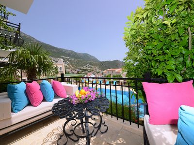 Photo for Centrally located apartment with large pool , a short stroll into town