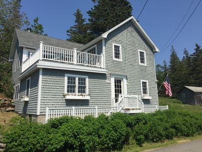 Photo for Sunset House: Rustic Maine Cottage Perched High Above Fishing Village with Harbor Views