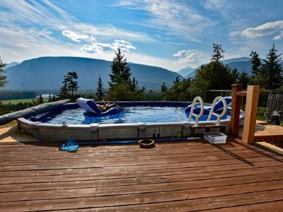 Photo for Pool;wilderness; view of mountains, lake, river;hot tub, sauna;privacy;trails!!