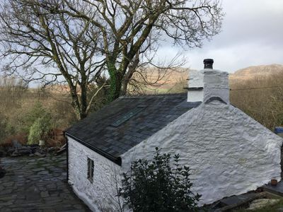 Rear view of Hen Gegin with views of Moel y Gest in the background
