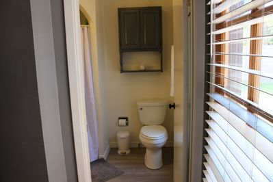 This is the bathroom attached to the master with the tempurpedic mattress.