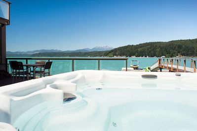 Luxury Lookout Hood Canal Vacation Rental:  Private hot tub with beautiful views